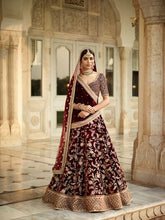Load image into Gallery viewer, L36, Sabhyasachi Style Maroon Velvet Embroidered lehenga, Size (XS-30 to XL-40)