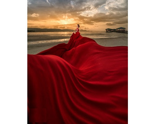 G184, Wine Prewedding Shoot Infinity Long Trail Gown, Size ( XS-30 To L 38 )
