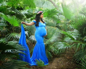 G46 (3), Blue Maternity Shoot Trail Baby Shower Gown, Size (XS-30 to XXL-42)