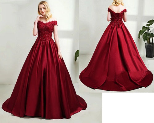 G130,(5) Wine Satin Off Shoulder Trail Ball gown, Size (XS-30 to XL-40)