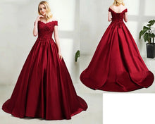 Load image into Gallery viewer, G130 (5), Wine Satin Off Shoulder Trail Ball gown, Size (XS-30 to XL-40)