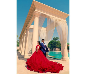 G137 (9), Luxury Red Puffy Cloud Trail Ball Gown,  Size - (XS-30 to XXL-44)