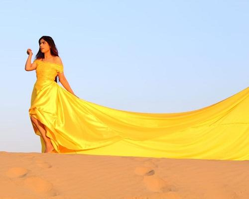 G278,(2) Yellow Maternity Shoot Satin Infinity Long Trail Gown Size (XS-30 to XL-40)