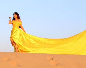 G278,(2) Yellow Prewedding Shoot Satin Infinity Long Trail Gown Size (XS-30 to XL-40)