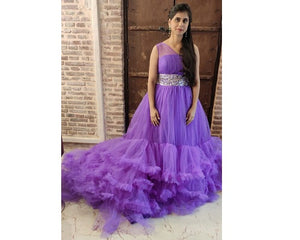 G240, Luxury Purple Ruffle Long Trail Ball Gown,  Size - (XS-30 to XL-40)