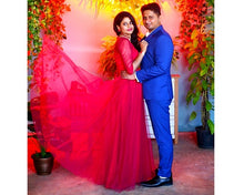 Load image into Gallery viewer, G183,(4) Wine Lace Half Sleeves Prewedding Shoot Infinity Long Trail Gown, Size (XS-30 to XL-40)