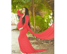 Load image into Gallery viewer, G44 (12)  Wine Red Maternity Shoot Trail Baby Shower Gown, Size (XS-30 to XXL-44)