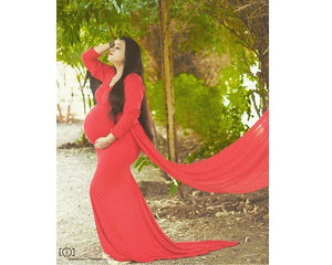 G44,-3 Wine Red Maternity Shoot Trail Baby Shower Gown, Size (XS-30 to XXL-44)