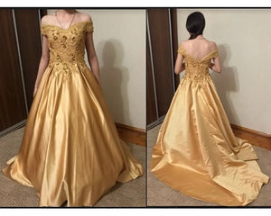G176, Golden Off Shoulder Satin Ball Gown, Size (XS-30 to L-38)
