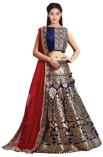 L17, Brocade Navy Blue Lehenga, Size (XS-30 toXL-40)