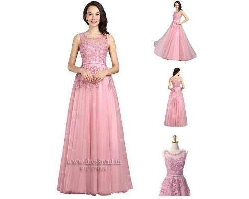 Sweet Pink Lace Beading Long Gown, Size (XS-30 to L-36)