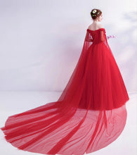 Load image into Gallery viewer, G126 (2), Red Off Shoulder Veil Trail Gown, Size (XS-30 to XXL-44)