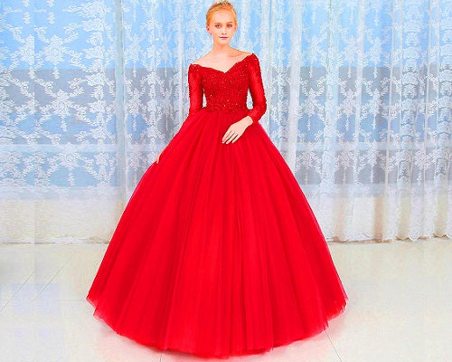 G335, Red Semi off Shoulder Ball Gown, Size (XS-30 to XXL-44)