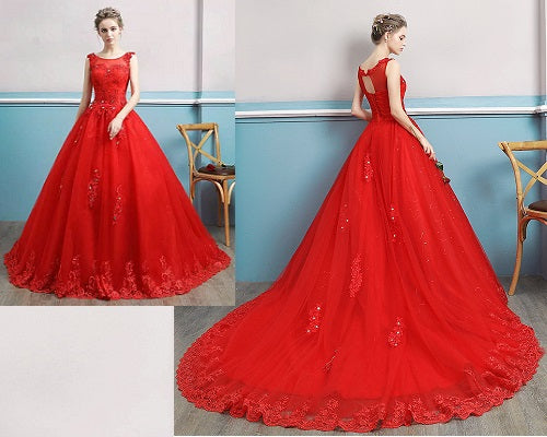G128, Red Lace Trail Gown, Size (XS-30 to L-38)