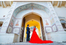 Load image into Gallery viewer, G129, Red Offshoulder Infinity Prewedding Shoot Trail Ball Gown, Size (XS-30 to L-38)