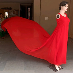 G700, Red Long Trail Prewedding Shoot Gown,  Size - (XS-30 to XXL-44)