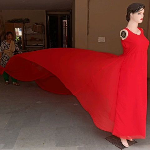 G700, Red Long Trail Maternity Shoot Gown,  Size - (XS-30 to XXL-44)