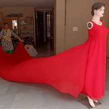 Load image into Gallery viewer, G700, Red Long Trail Prewedding Shoot Gown,  Size - (XS-30 to XXL-44)