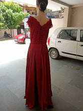 Load image into Gallery viewer, G350, Wine satin Maternity Shoot Gown,  Size - (XS-30 to XXL-44)