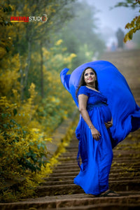 G400, Royal Blue Long Satin Trail Prewedding Shoot Gown, Size - (XS-30 to XL-40)
