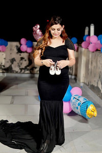 G220 (2), Black Maternity Shoot Trail Baby Shower Gown, Size (XS-30 to XXL-42)