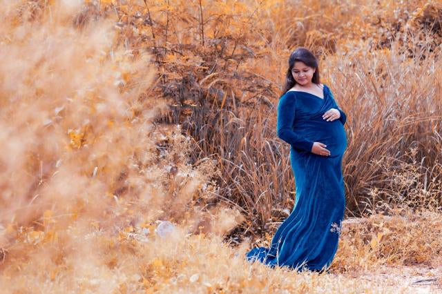 G241, Royal Blue Velvet Off Shoulder Full Sleeves Maternity Shoot Trail Baby Shower Gown,  Size - (XS-30 to XXL-44)