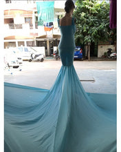 Load image into Gallery viewer, G243 (2) , Light Blue Maternity Shoot Baby Shower Trail Gown, Size (XS-30 to XXL-44)