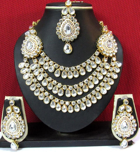 kundan stone necklace set with Mangtika