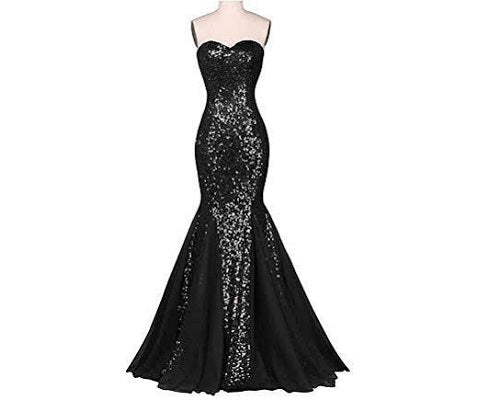 G51, Black Tube Top Mermaid Gown (XS-30 to L-36)