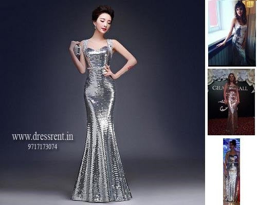 G98, Silver Cocktail Gown, Size (XS-32 to M 34)