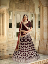 Load image into Gallery viewer, L13, Sabhyasachi Style Maroon Golden Lehenga, Size (XS-30 to XL-40)