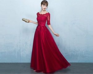 G183,(4) Wine Lace Half Sleeves Prewedding Shoot Infinity Long Trail Gown, Size (XS-30 to XL-40)