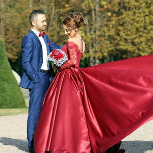 Wine Color Satin Off Shoulder Full Sleeves Trail Ball gown, Size (XS-30 to XL-40), G31