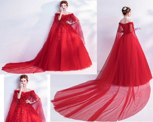 G126 (2), Red Off Shoulder Flower Veil Trail Gown, Size (XS-30 to XXL-44)