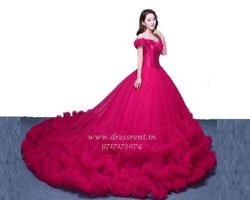G123, Luxury Wine Puffy Cloud Trail Big Ball Gown, Size (XS-30 to L-38)
