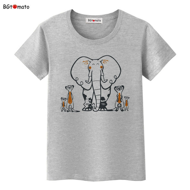 0daa7172bff264 Elephant printed T-shirts summer clothes novelty design casual top tees for  girls - My