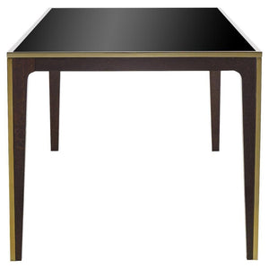 Boyd Silhouette Modern Classic Gold Trim Smoked Glass Dining Table