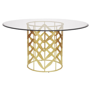Teddy Hollywood Regency Glass Top Gold Leaf Metal Round Dining Table - Small 24D
