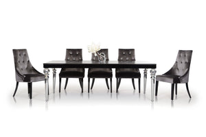 "31"" Black Crocodile Lacquer Dining Table"
