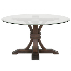 Round Dining Table with Glass Top, Rustic Java Brown