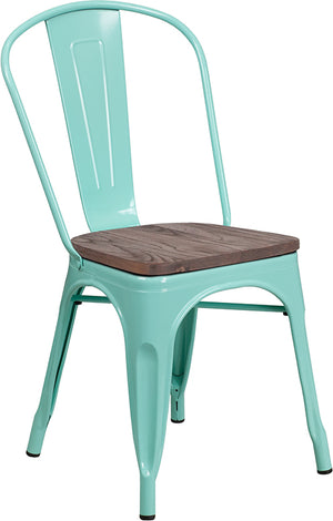 Abbi Mint Green Metal Stackable Chair with Wood Seat