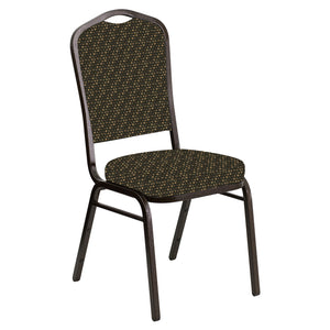 Abigal Crown Back Banquet Chair in Optik Chocolate Fabric - Gold Vein Frame