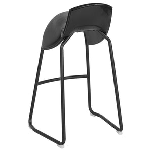 Amine Saddle Chair Barstool in Black Vinyl