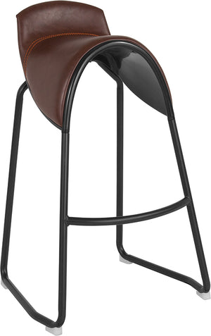 Gilbert Saddle Chair Barstool in Brown Vinyl