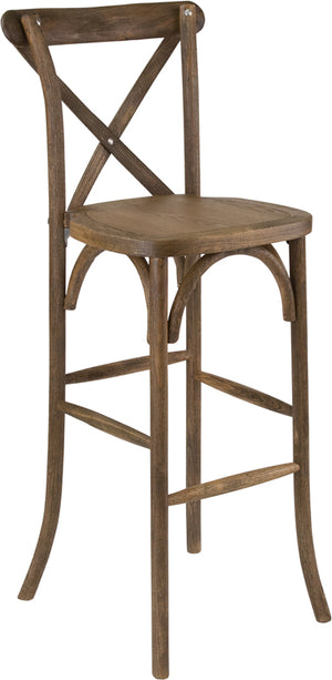 Wisdom Dark Antique Wood Cross Back Barstool