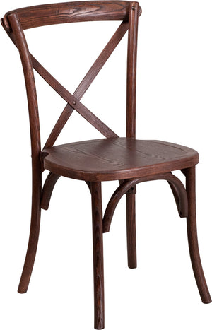 Izak Stackable Mahogany Wood Cross Back Chai