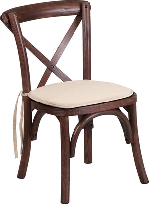 Mitchel Mahogany Wood Cross Back Chair with Cushion