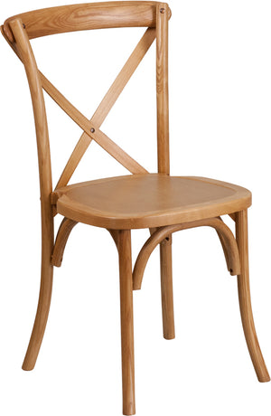 Cael Stackable Oak Wood Cross Back Chair