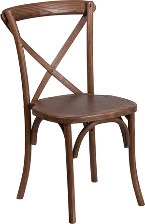 Alexandru Stackable Pecan Wood Cross Back Chair