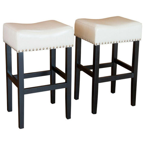 GDF Studio Chantal Leather Stools/Ivory/Counter Height/Set of 2